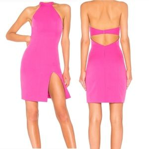 NBD | Fuscia Cut Out Halter Dress with Slit | XXS